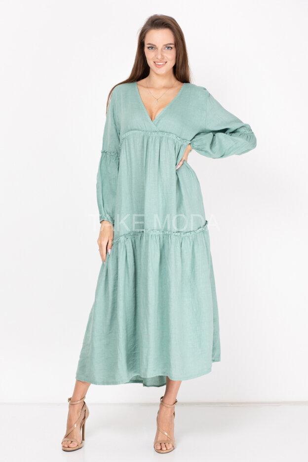 Льняное ярусное платье с V-вырезом