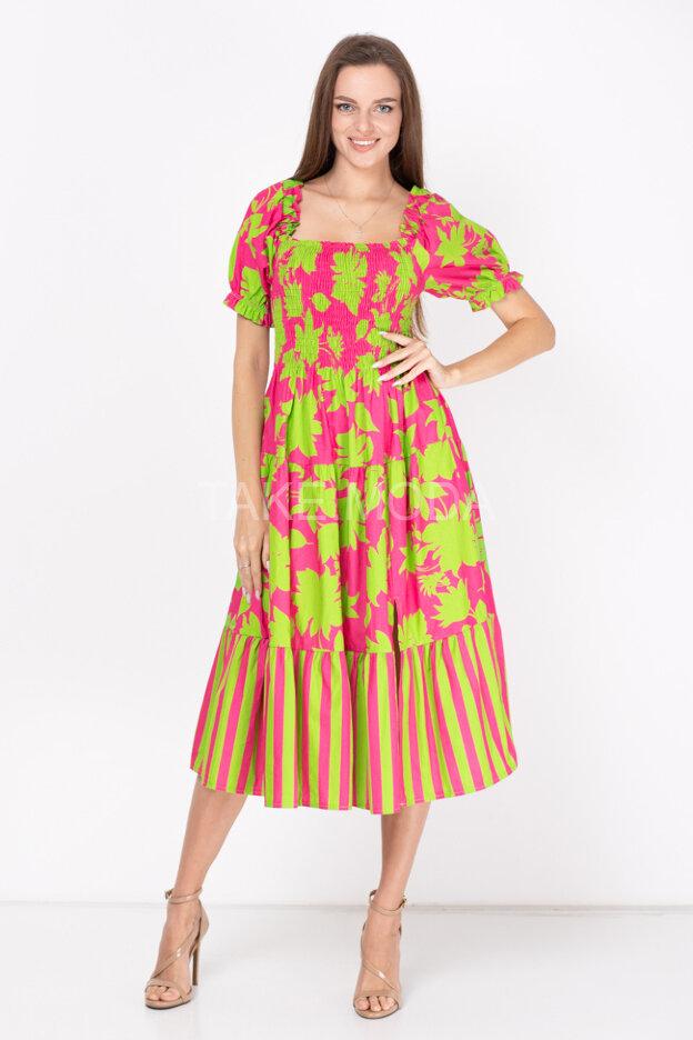 Ярусное платье с цветочным принтом