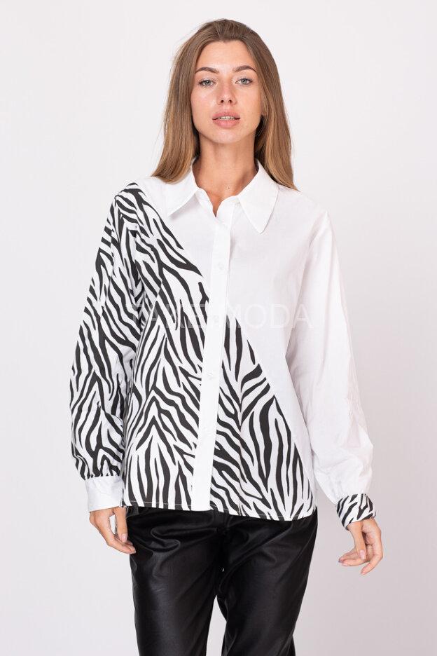 Комбинированная сорочка с анималистическим принтом
