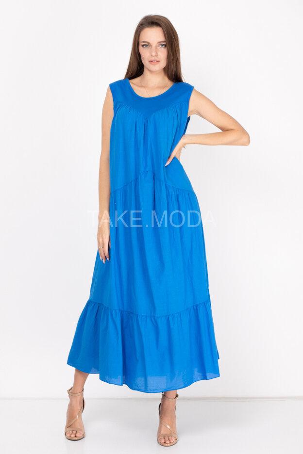 Хлопковое ярусное платье без рукава