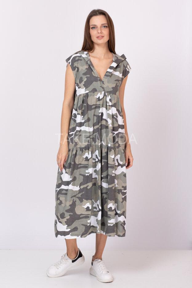 Платье с принтом милитари
