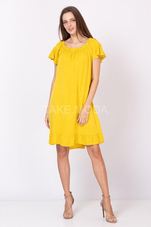 Вискозное платье с резинкой по горловине