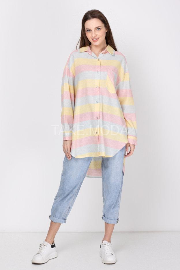 Сорочка с ярким принтом полоска