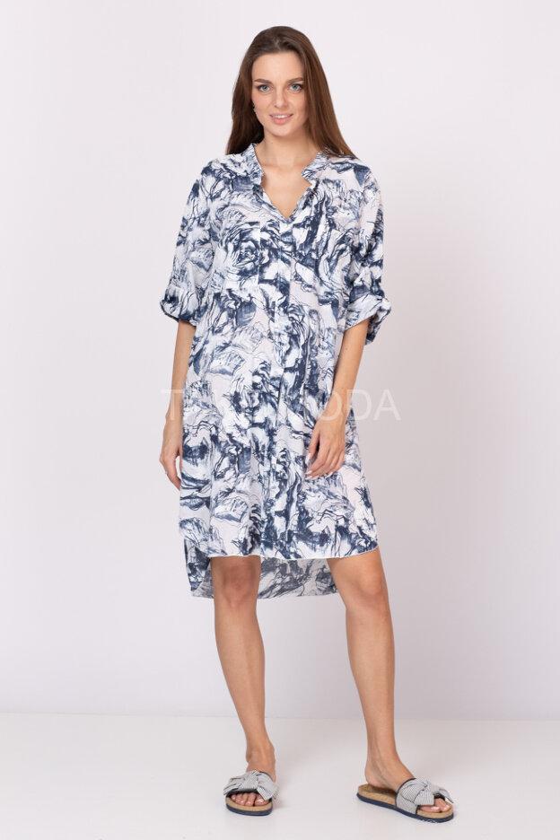 Платье-рубашка с абстрактным принтом