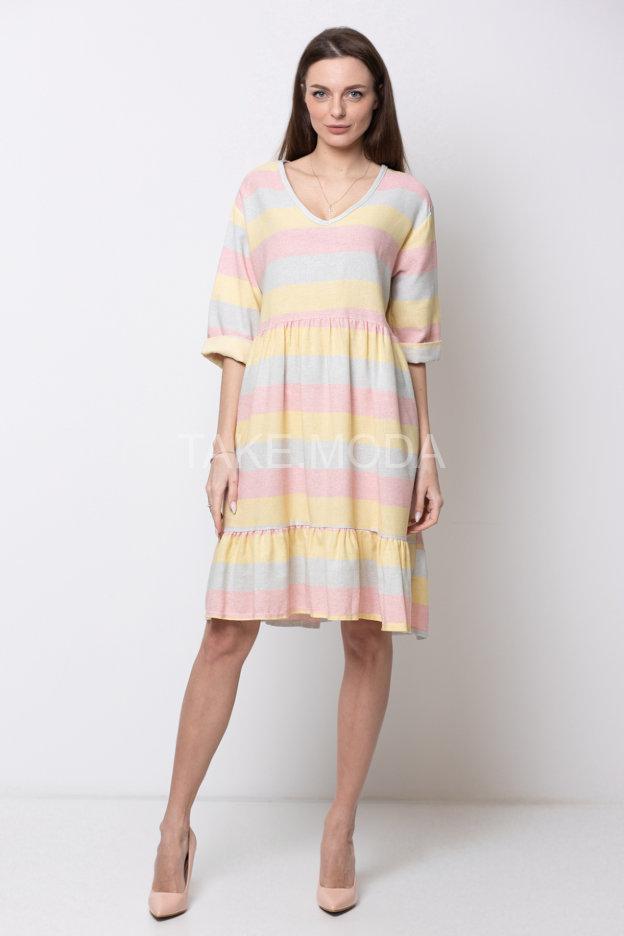 Платье с горизонтальным принтом