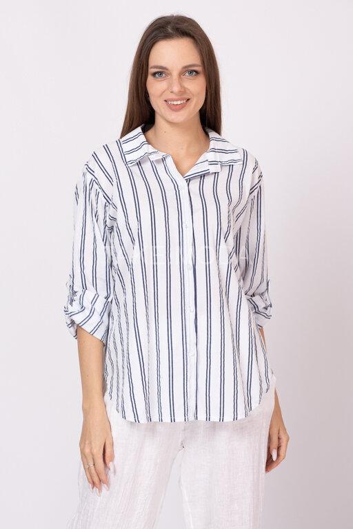 Хлопковая сорочка с принтом полоска