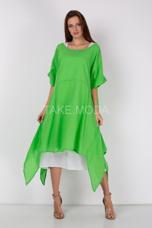 Комбинированное асимметричное платье