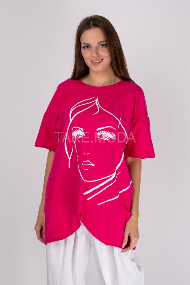 Асимметричная футболка с принтом девушка