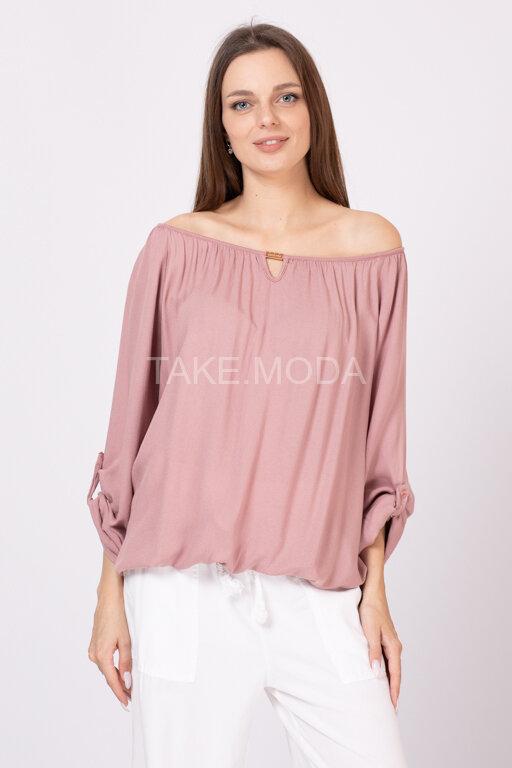 Однотонная хлопковая блуза