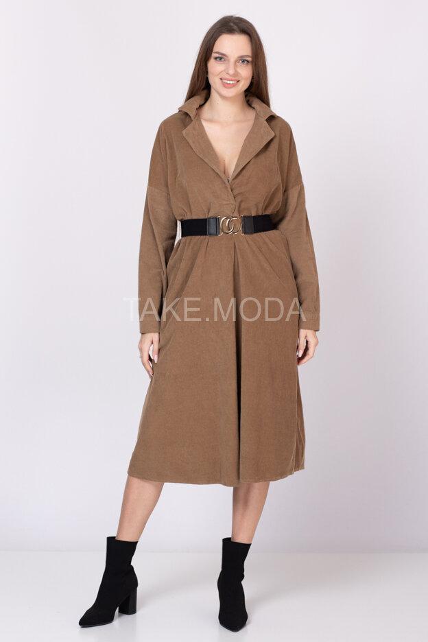Платье из микровельвета с двумя прорезными карманами по бокам