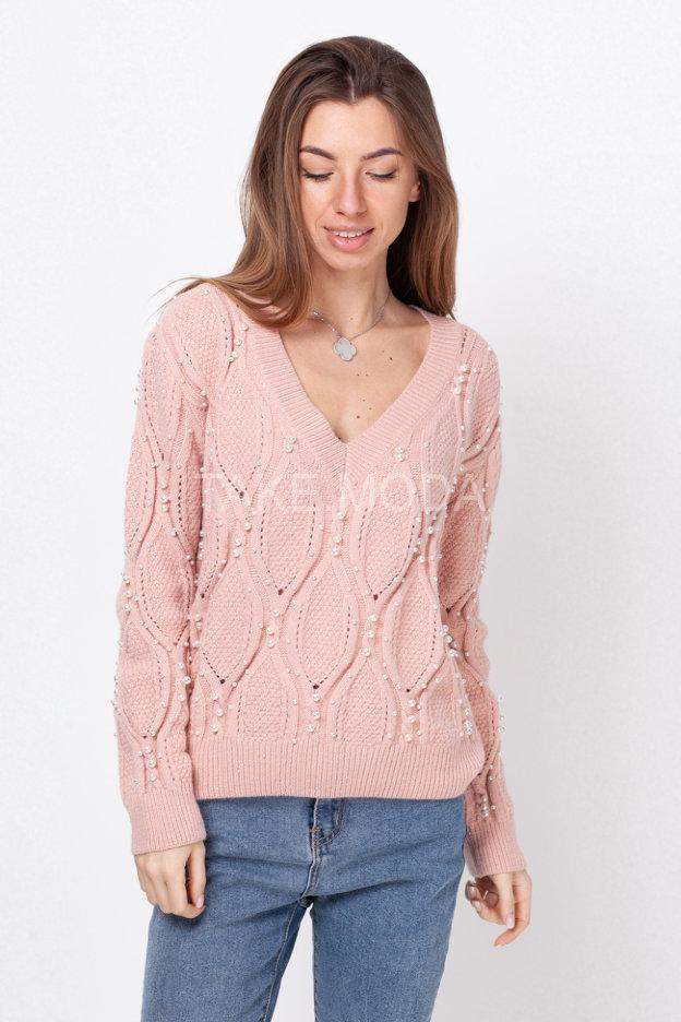 Трикотажный свитер декорированный бусинами