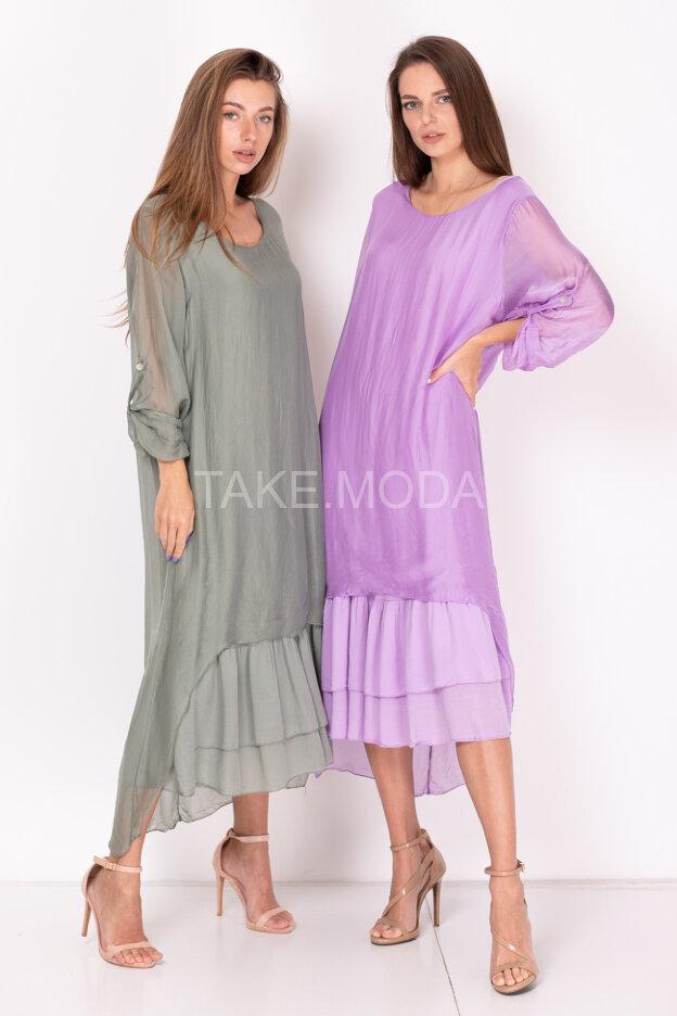 Асимметричное комбинированное платье