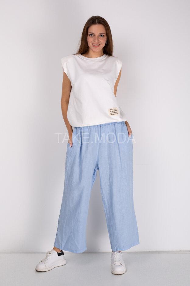 Однотонные льняные брюки