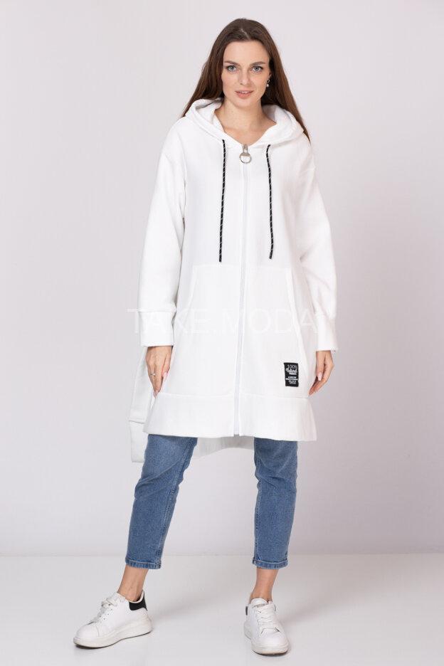 Флисовое пальто с глубокими разрезами по бокам