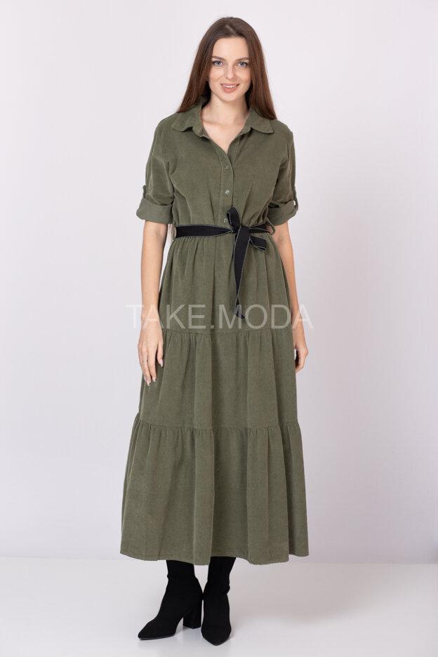 Ярусное платье из микровельвета