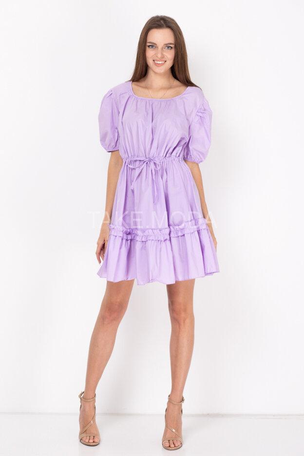 Хлопковое платье с кулиской на талии