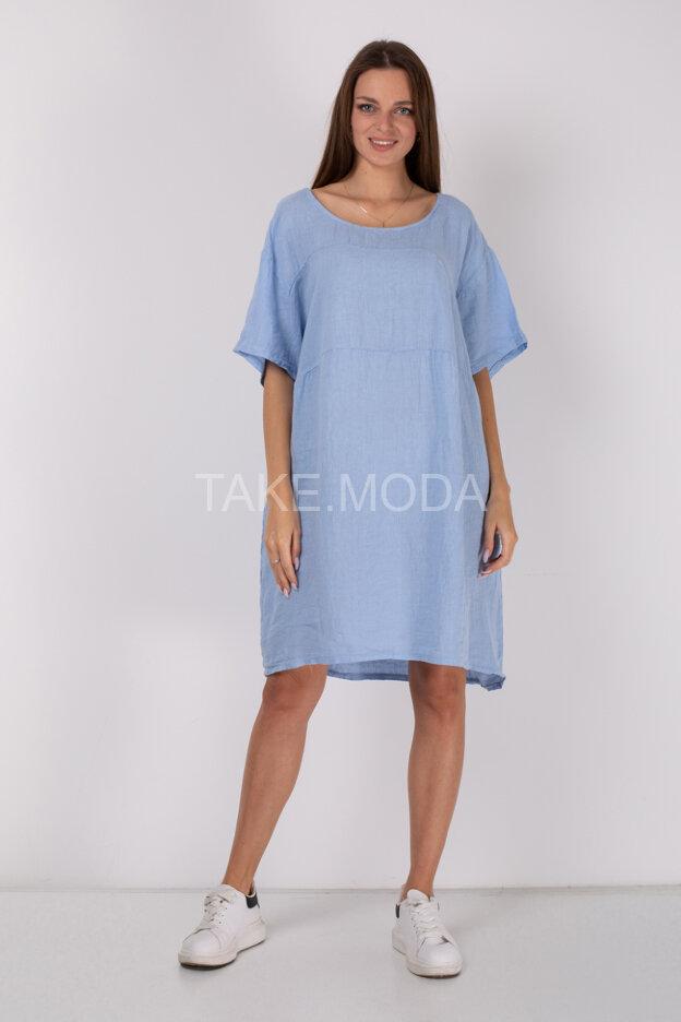 Однотонное льняное платье Oversize