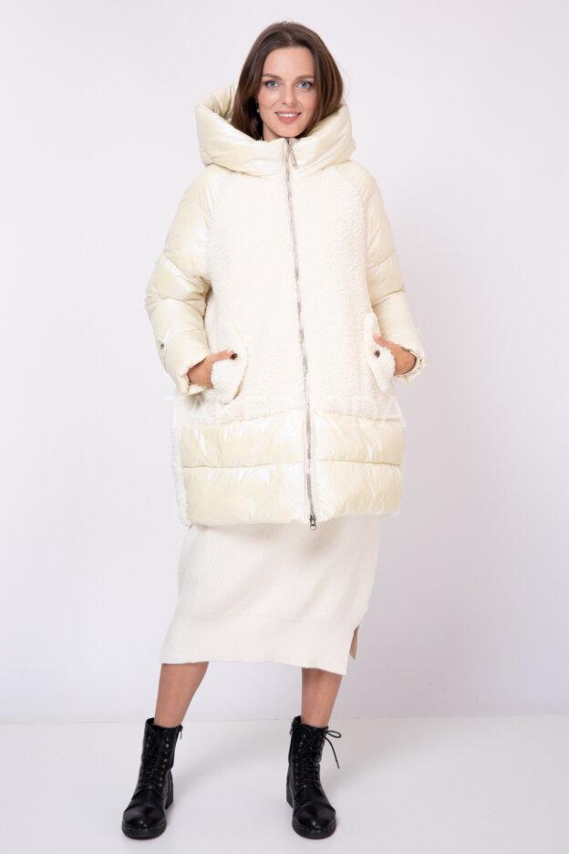 Комбинированная стеганная куртка с капюшоном