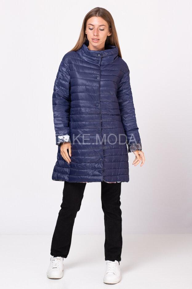 Стеганное пальто с воротником стойка