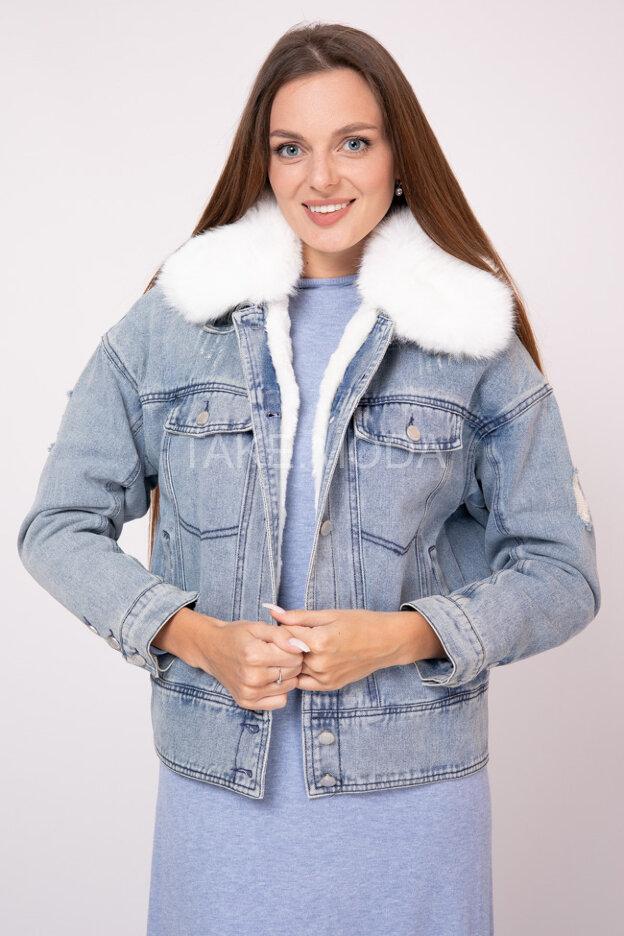 Джинсовая куртка с эко мехом