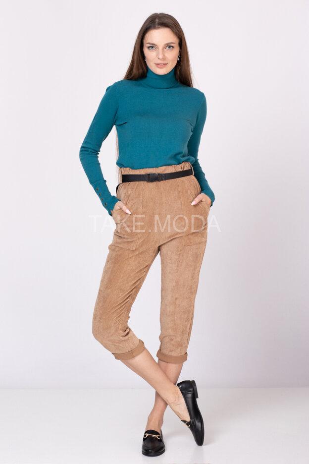 Свободные брюки Street Style из микровельвета