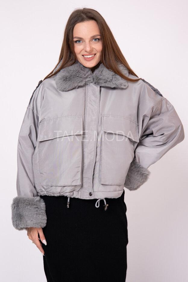 Куртка авиатор с вставками из эко меха
