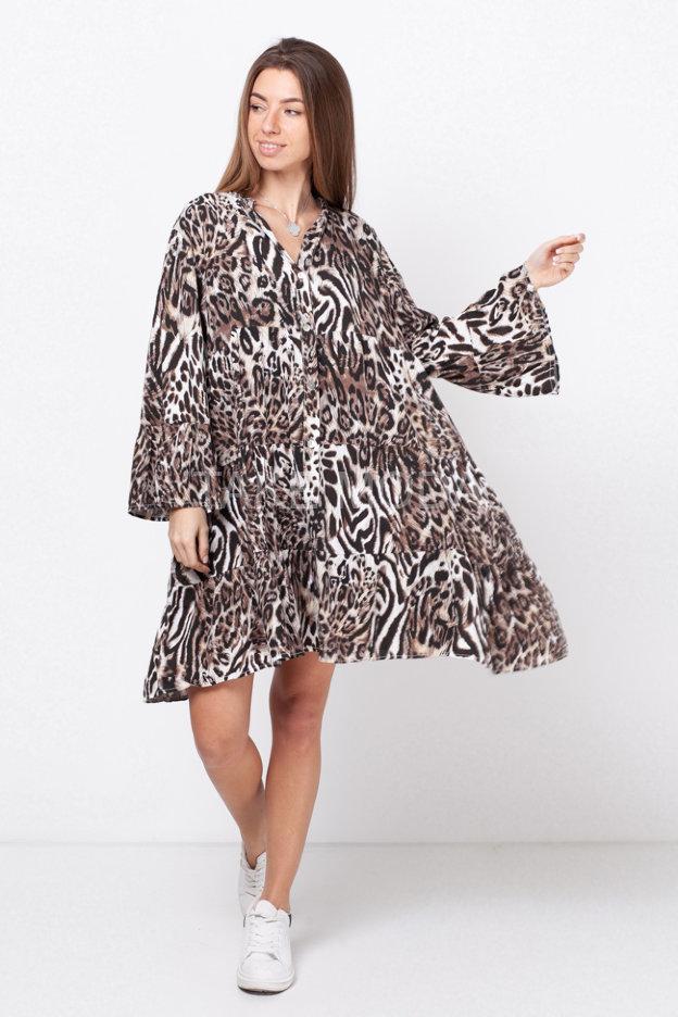 Ярусное платье с анималистическим принтом