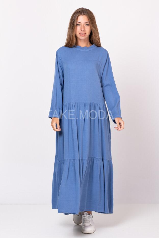 Свободное ярусное платье из тенселя