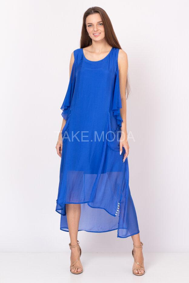 Шелковое платье с оригинальной спинкой
