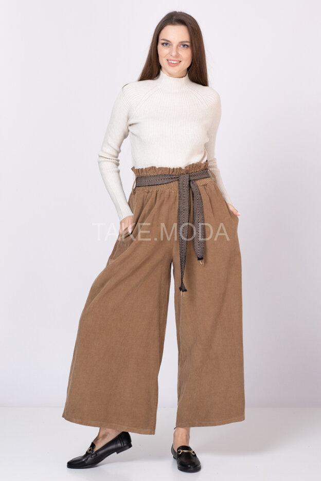 Вельветовые брюки с широкой резинкой на талии