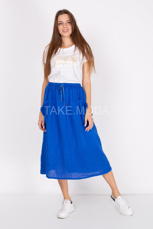 Льняная юбка с накладными карманами