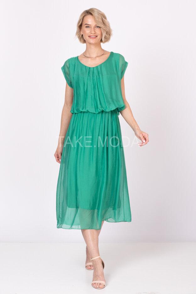 Шелковое платье с кулиской на талии