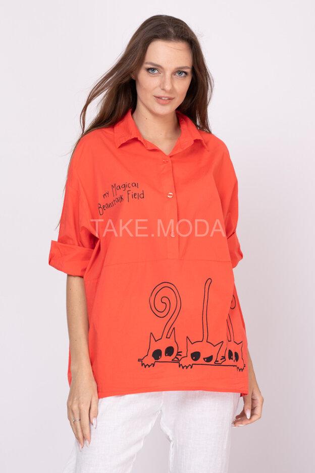 Сорочка Oversize  с принтом коты