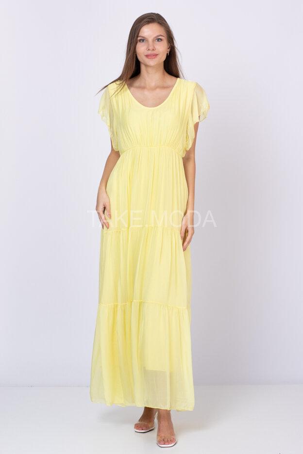 Ярусное шелковое платье с рукавом крылышко