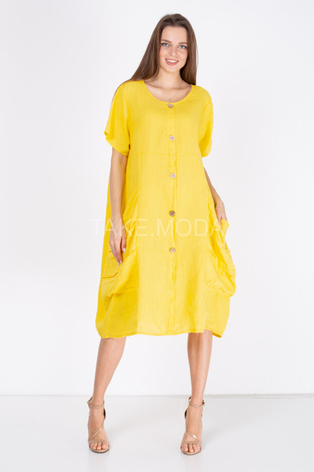 Льняное платье с объемными бочками