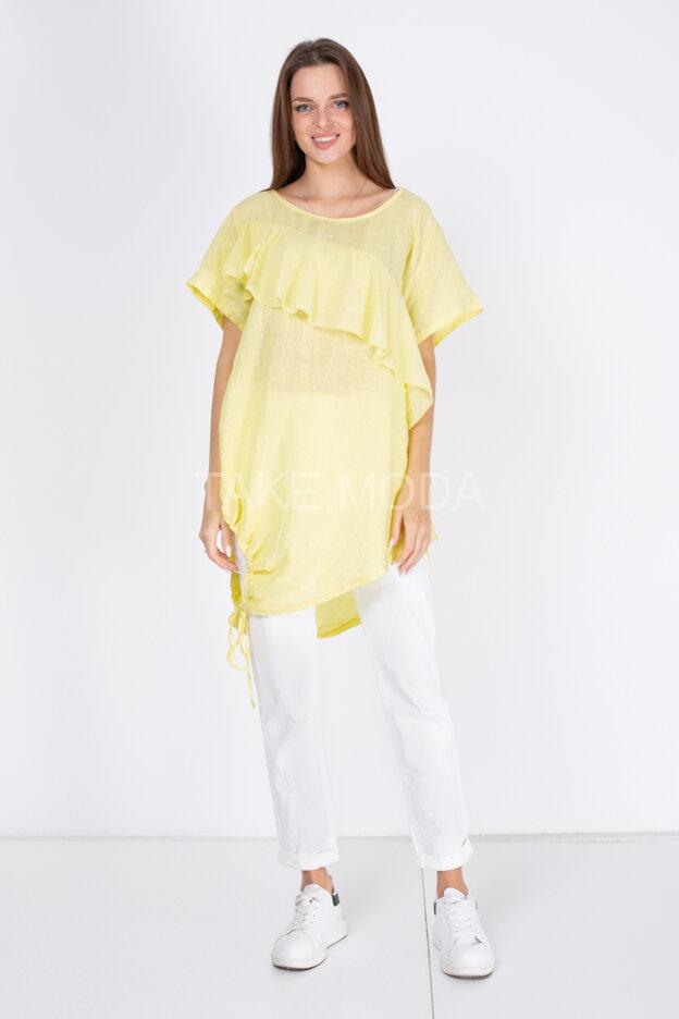 Льняная блуза украшенная воланом