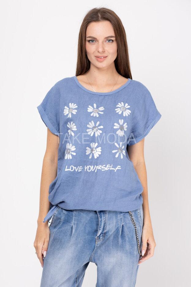 Асимметричная футболка с принтом ромашки