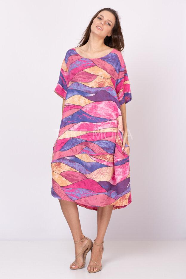 Льняное платье с абстрактным принтом