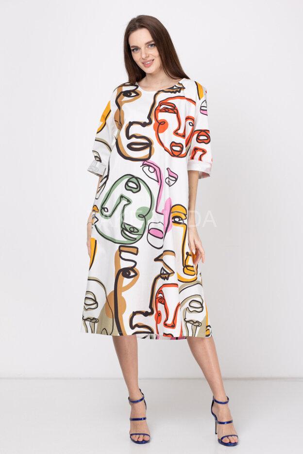 Платье oversize с абстрактным принтом