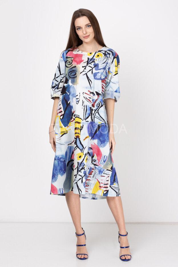 Платье с разноцветным абстрактным принтом