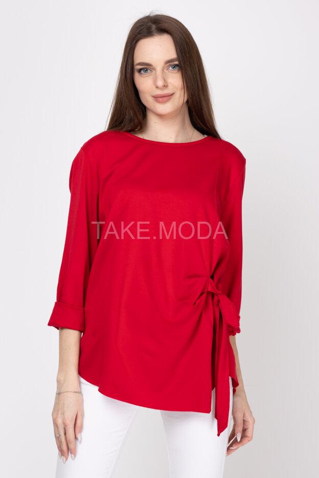 Однотонная блуза с завязкой сбоку