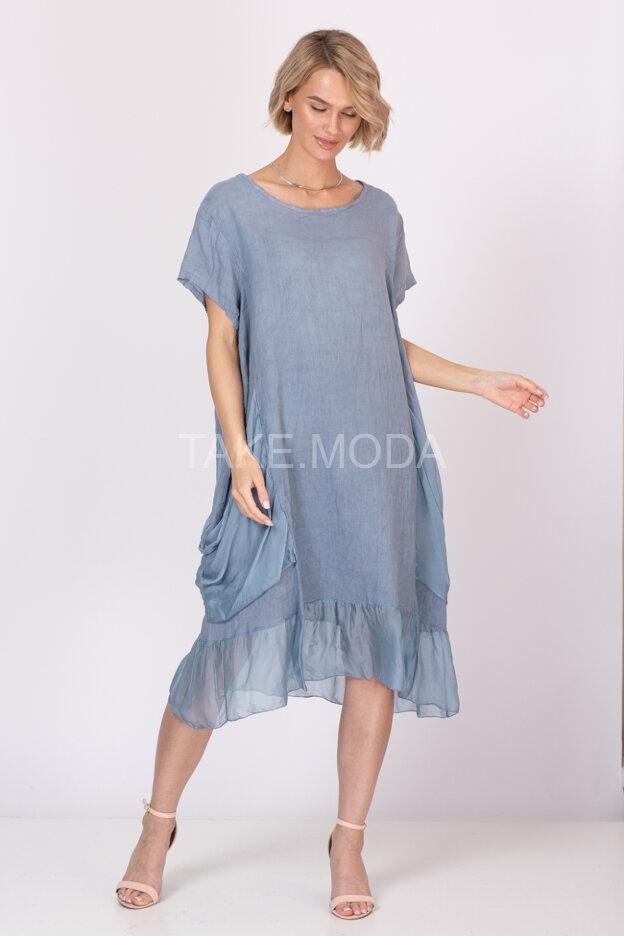 Льняное платье с шелковыми вставками