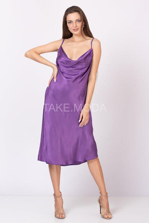 Платье на тонких бретелях с драпировкой качели