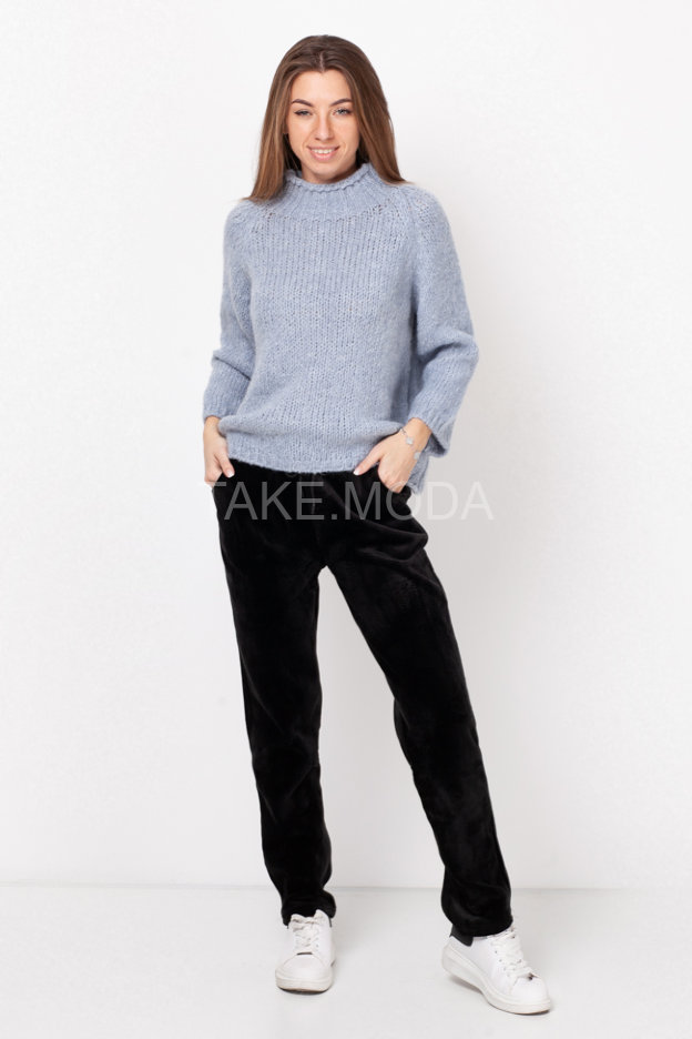 Велюровые брюки с прорезными карманами