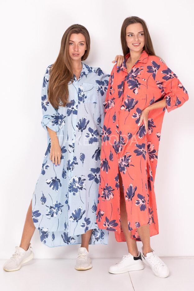 Платье-рубашка с буквенным принтом