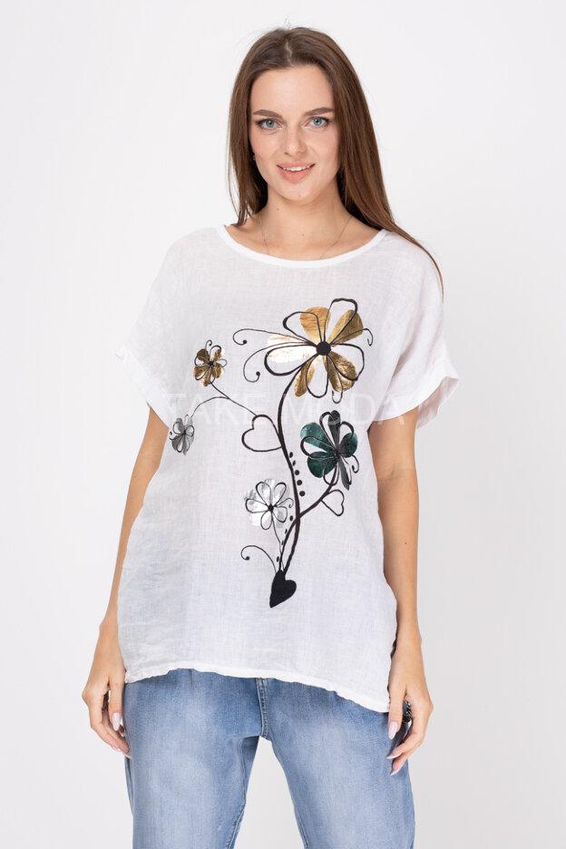 Комбинированная футболка с цветочным принтом