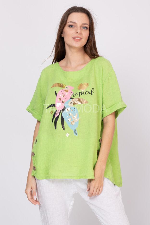 Льняная блуза с принтом какаду