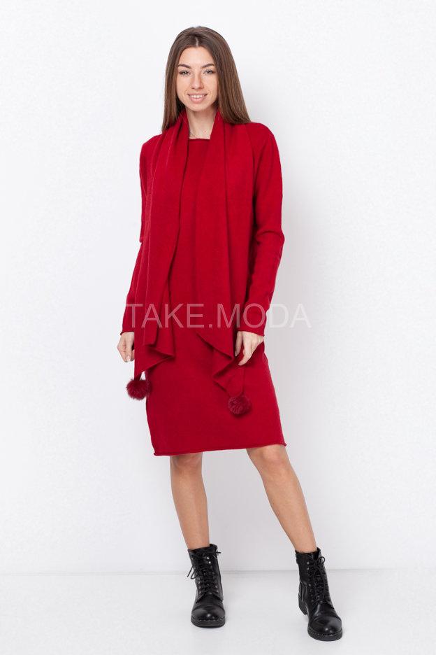 Трикотажное платье в комплекте с шарфом