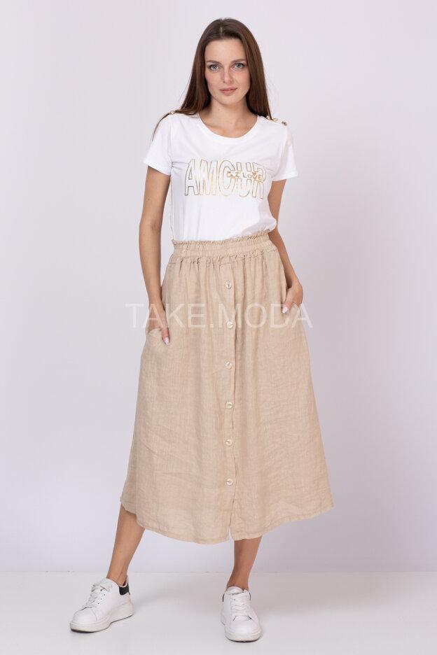Однотонная льняная юбка