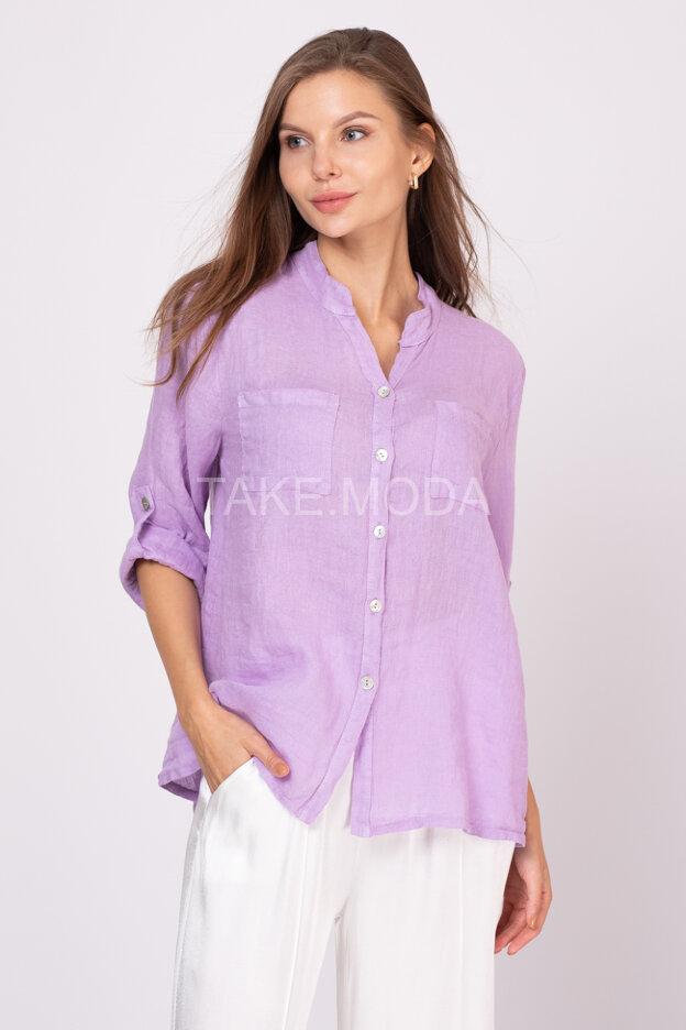 Льняная сорочка с накладными карманами на груди